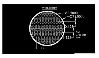 shell and tube heat exchanger tube sheet CAD diagram